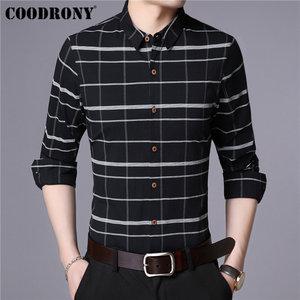 COODRONY Men Shirt Fashion Striped Long Sleeve Shirt Men Clothing Autumn New Arrival Casual Shirts Cotton Camisa Masculina 96027