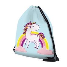 BU Store Unicorn Drawstring Bag String Sack Bag Beach Polyester Women Men Travel Storage Package Teenagers backpack Sacos Mujer