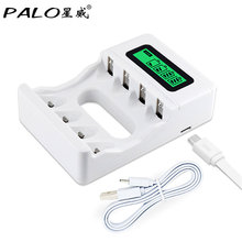 ФОТО hot ! intelligent 4 slots smart lcd battery charger rechargeable usb charger for aa / aaa nicd nimh rechargeable batteries