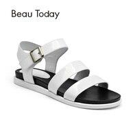 BeauToday Sandalet Kadınlar Inek Deri Ayak Bileği Askı Kanca Döngü Yaz Düz Topuk Rugan Bayan Ayakkabı El Yapımı 32038