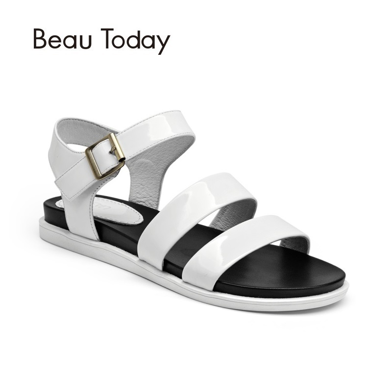 BeauToday Sandals Women Cow Leather Ankle Strap Hook Loop Summer Flat Heel Patent Leather Ladies Shoes Handmade 32038 new fashion silver tone chain trim flat sandals flat heel black white metal leather ankle sandals for women free shipping