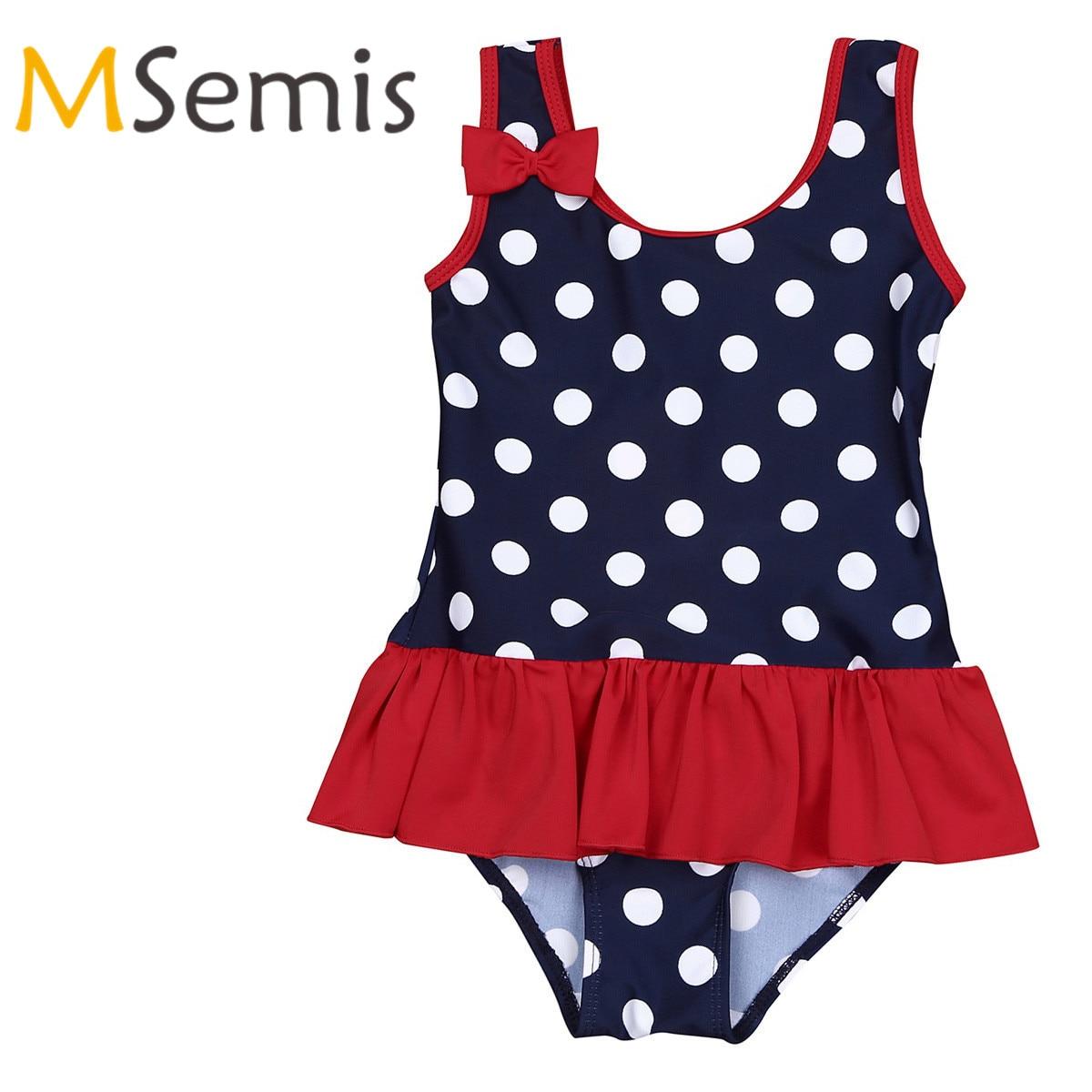Kids Girls Swimsuit Gymnastics Leotard Swimming Suit Infant Bady One Piece Swimwear Polka Dots Ruffles Children's Swimming Suit