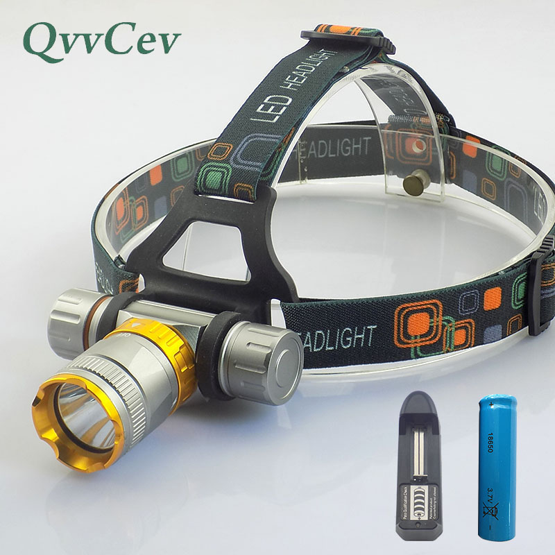 Powerful T6 Led Headlamp diving fishing underwater head flashlight Head Torch Lamp light battery Headlight 18650 battery Charger powerful xml t6 headlight 5000 lm rechargeable led headlamp t6 flashlight head torch lamp wall ac adapter charger 18650 battery