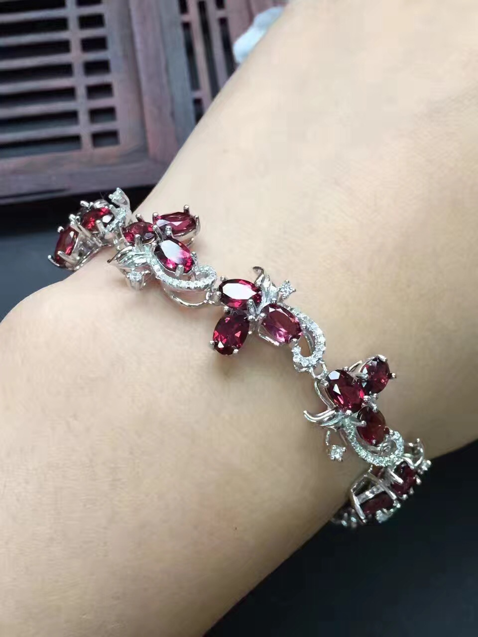 Fine Jewelry Real 925 Steling Silver s925 100% Natural Red Garnet Gemstone Bracelet women Bracelets Christmas Gift fine jewelry real 925 steling silver s925 100