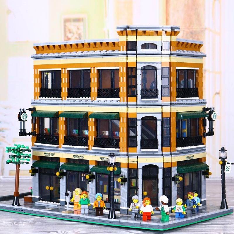 New Lepin 15017 4616Pcs Creator Expert Starbucks Cafe Bookstore Model Building Kits Birthday Toy Compatible With Legoed 10243 a toy a dream lepin 15008 2462pcs city street creator green grocer model building kits blocks bricks compatible 10185