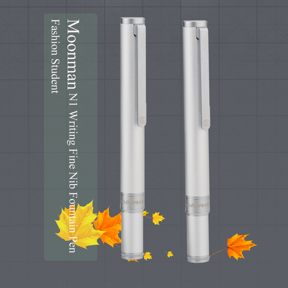 Moonman N1 Aluminum Alloy Mini Fountain Pen Short Writing Signature Pocket Silver Gifts Fine Nib Student Fashion Travel Business
