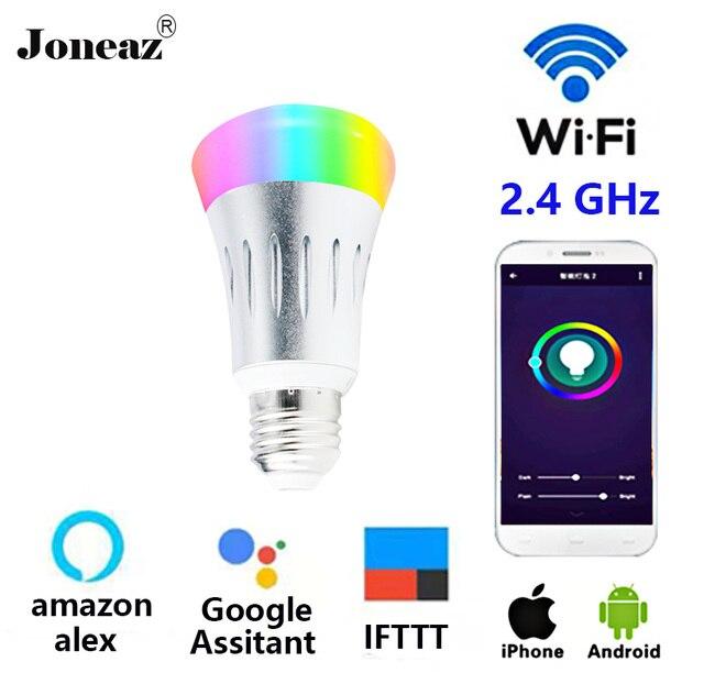 E27 B22 E14 ampoule WIFI Bulb led lamp RGB Dimmable 10W bombillas Smart Life APP alexa Google Assistant IFTTT remote Joneaz