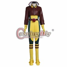 Cosplaydiy   X-Men Rogue Cosplay Costume Adult Women Sexy Halloween Carnival Cosplay Clothing Outfit Version 01 Custom Made