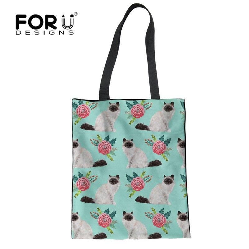 FORUDESIGNS Birman Cat Design Cute Print Folding Shopping Bag Reusable Tote Bag Storage Recycling Bags Eco Large Capacity Custom tote bag