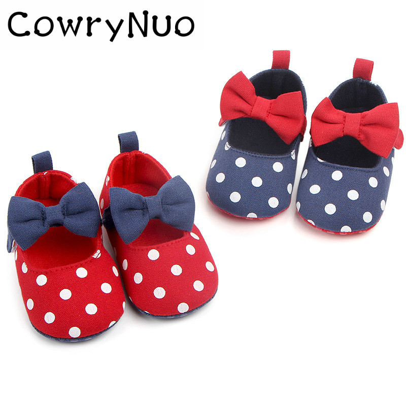 First Walkers Cheap Sale New Cute Polka Dot Baby Shoes Butterfly-knot Baby Dress Shoes For Girls Grade Products According To Quality