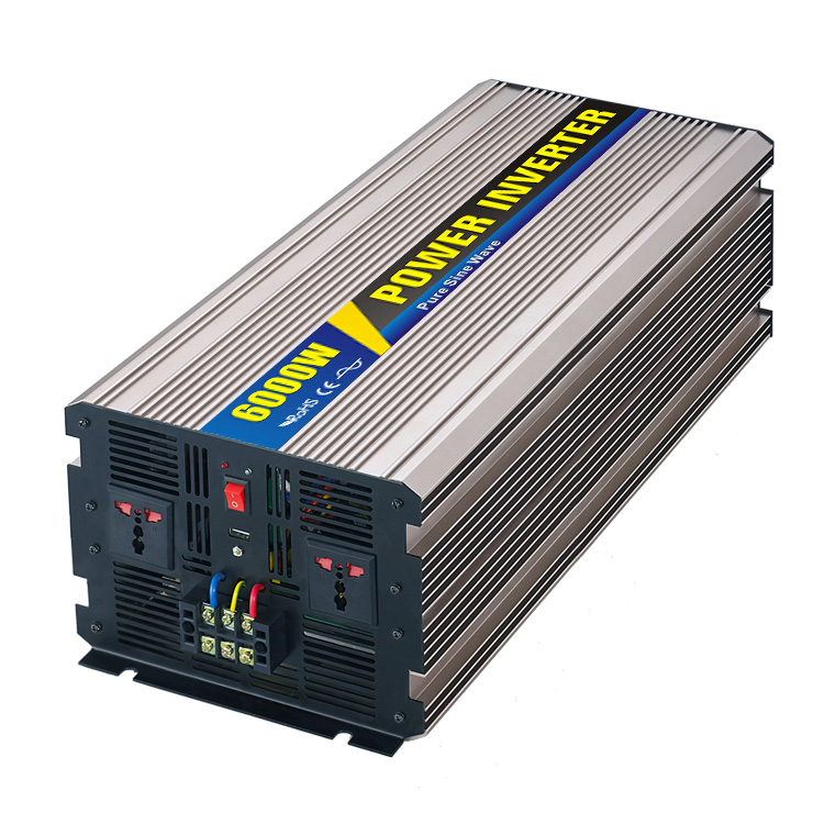 Pure Sine Wave Inverter 6000W DC24V 48V to AC 110V 220V Peak Power 12000W Priority or Mains Priority Optional