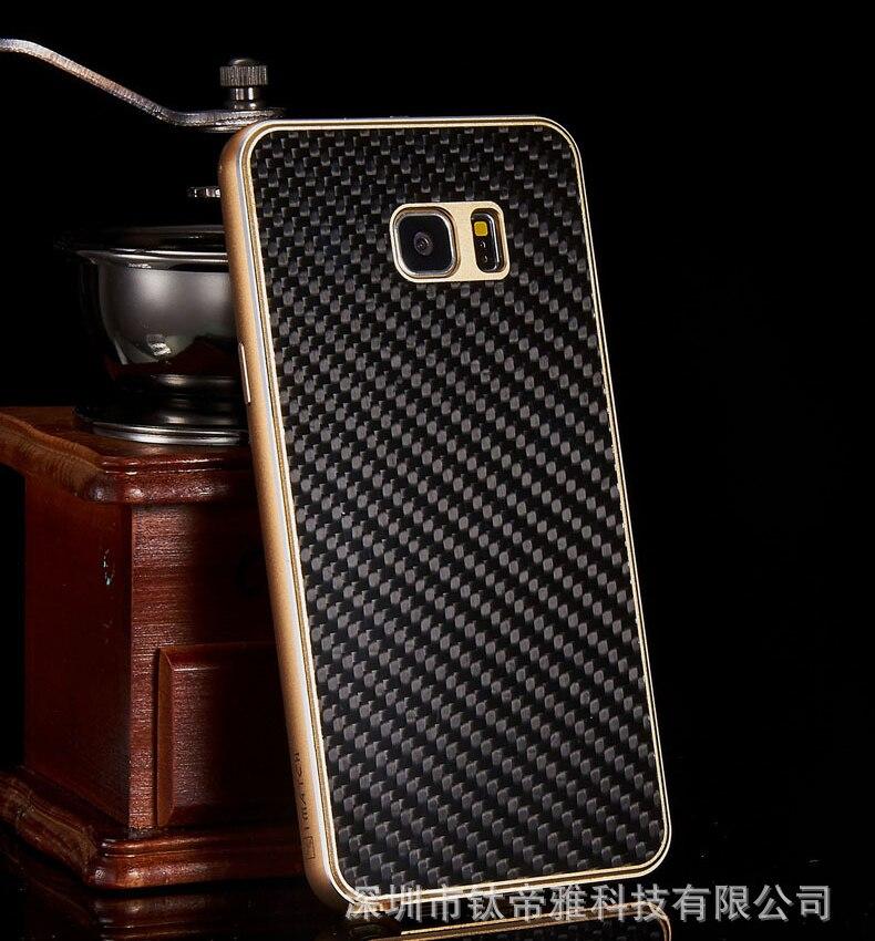 imágenes para Lujo Real de Fibra de Carbono de La Contraportada + Exquisita Estructura De Metal de Aluminio conjunto de Cajas Del Teléfono Móvil Para Samsung Galaxy Note 5 Caso N9200