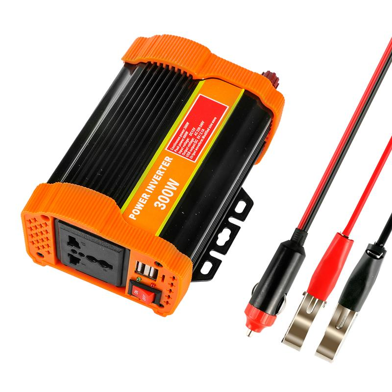 Voiture 300 W onduleur pleine puissance DC 12 V à AC 220 V convertisseur 5 V/2.1A double USB chargeur universel sortie avec fusible