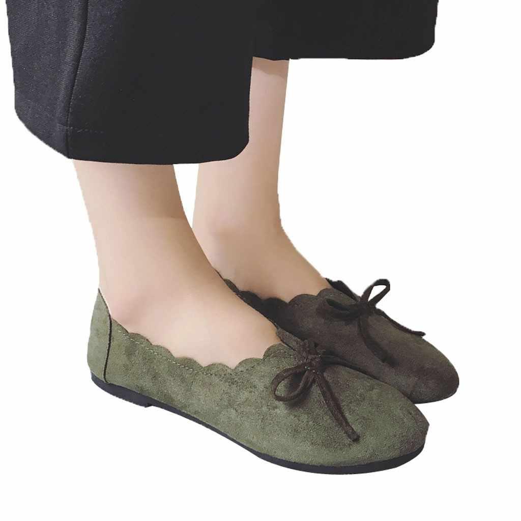 Jaycosin Kühlen Sommer Persönlichkeit Frauen Frühling Und Herbst Wilden Retro Bogen-Knoten Flacher Mund der Einzelnen Schuhe 2019 Apr29 p40