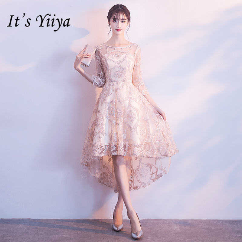 It's YiiYa Fashion Embroidery   Cocktail     Dress   Elegant Half Sleeve Tea-Length Formal   Dress   Party Gown JLM005
