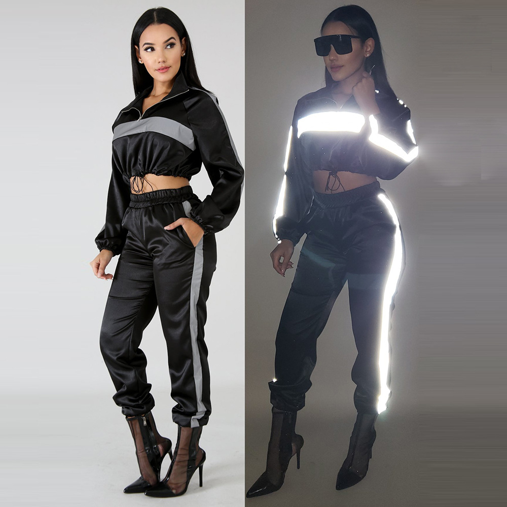 HAOYUAN 2019 Reflective Tracksuit 2 Two Piece Set Women Clothes Black Crop Top+Pants Sweat Suit Sexy Club Outfits Matching Sets