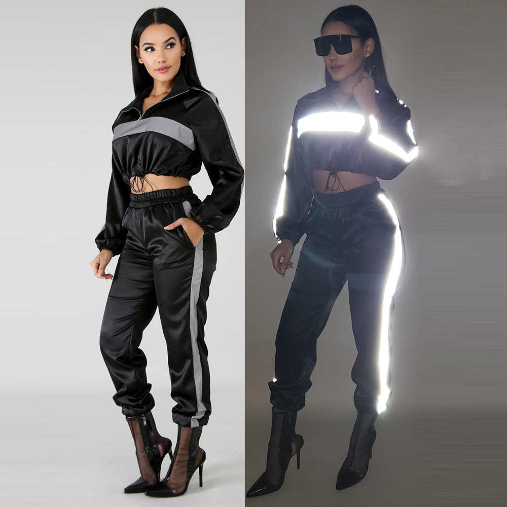 2a02c86a Detail Feedback Questions about HAOYUAN 2019 Reflective Tracksuit 2 Two  Piece Set Women Clothes Black Crop Top+Pants Sweat Suit Sexy Club Outfits  Matching ...