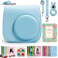 Camera Case for Fujifilm Instax Mini 9 8 8+ PU Leather photo case photography pouch with Strap Sticker Selfie Lens Filter Album