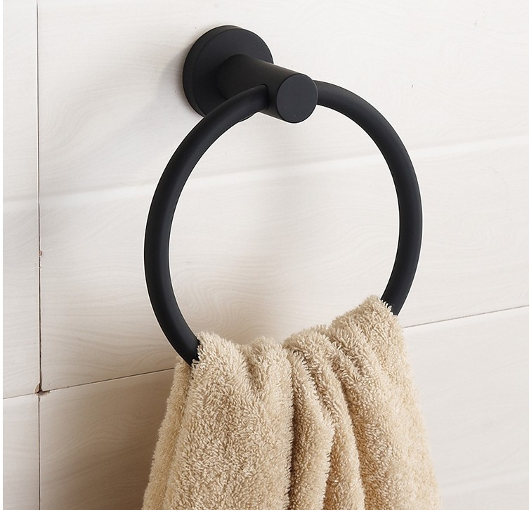 ФОТО High Quality Bathroom Accessories,Stainless Steel Black Finish Towel Ring Holder&Towel Bar/Wall Mounted Creative Design  Brushed