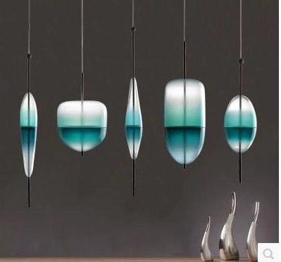 Bleu chromatographie design italien lampe suspension lumière lac de venise bleu dégradé Simple paisible pur pendentif éclairage verre