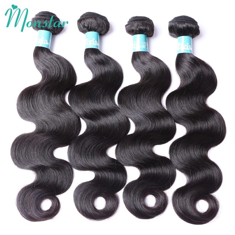 Monstar Raw Virgin Peruvian Hair Bundle Deals Unprocessed Human Hair Bodywave 4 Bundels 100% Human Hair Weaving Free Shipping