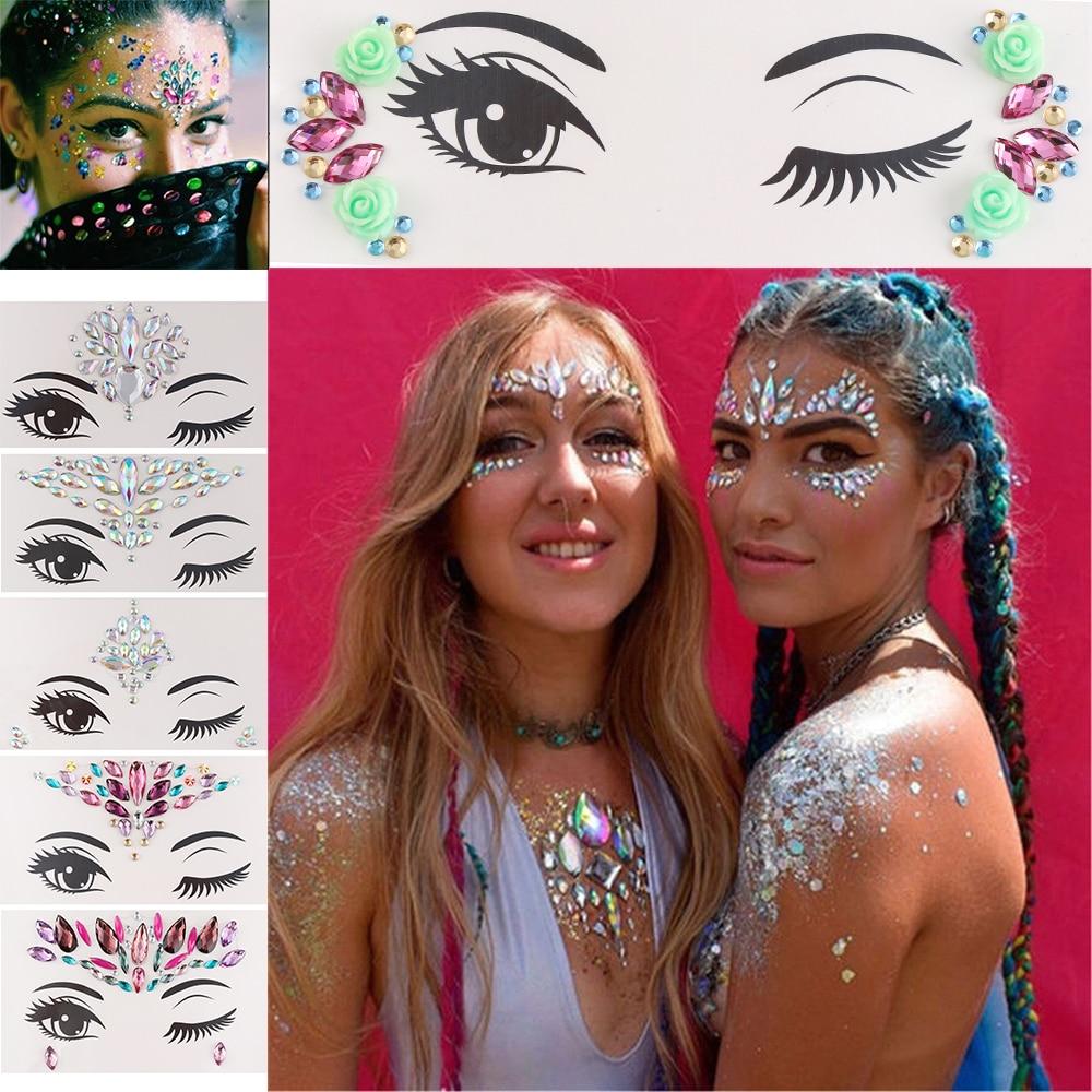 1pc Temporary Tattoo Sticker Face Jewelry Gems Rhinestone Decoration Party Festival Makeup Glitter Tattoos Body Art Stickers Temporary Tattoos Aliexpress
