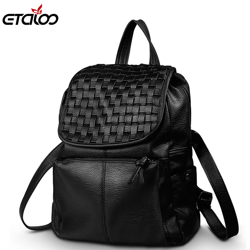 new spring and summer 2017 South Korea leather female bag backpack knitted fashion lady bag