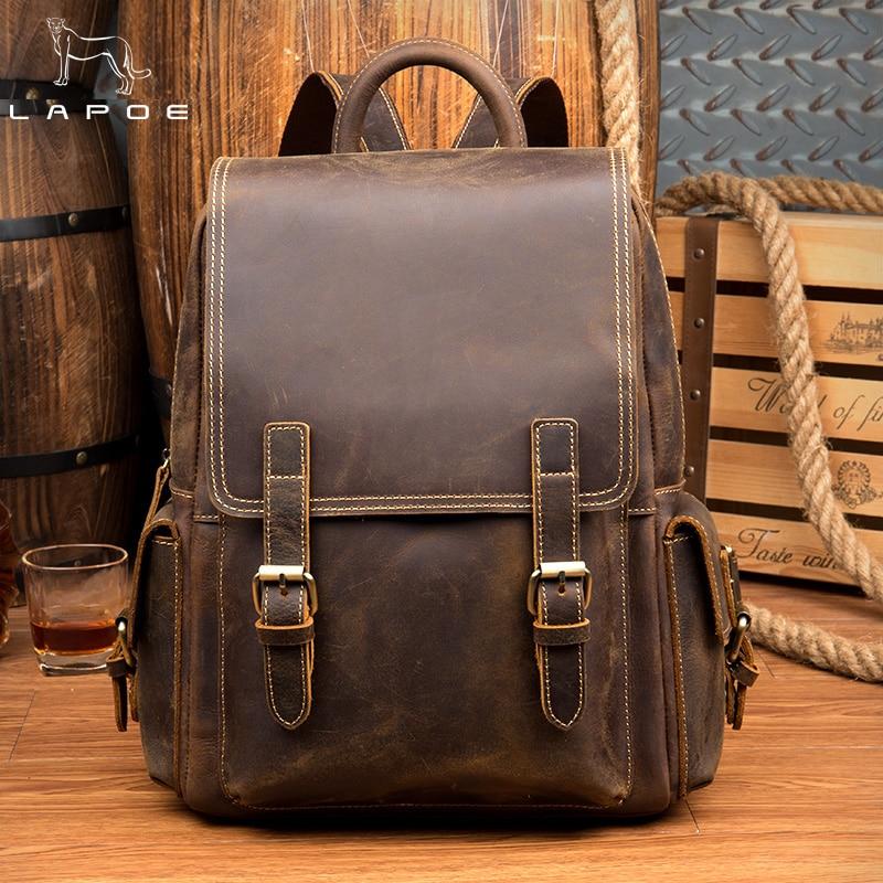 Large Capacity Mens Women Genuine Leather Backpack Travel Daypacks Travle Backpack mochila Feminina Female Backpack School Bags pabojoe women mens school backpack italian 100