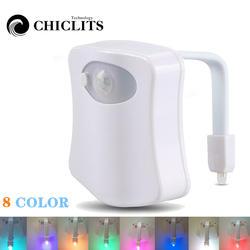 Светодио дный светодиодный умный туалет ночник водостойкий WC Closestool освещение сидений PIR датчик движения Авто Лампа активированная