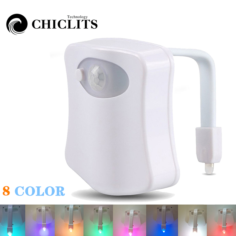 LED Smart Toilet Night Light Waterproof WC Closestool Seat lights PIR Motion Sensor Auto Lamp Activated Pedestal Toilet L