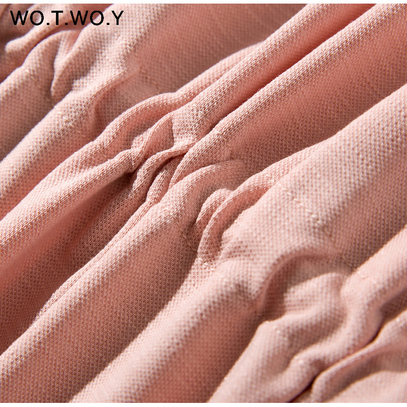 Long T-shirt Dresses Women Summer Sashes Waist Slit Casual O-Neck Short Sleeve Loose Ankle-Length Dress Woman Pink Cotton 18