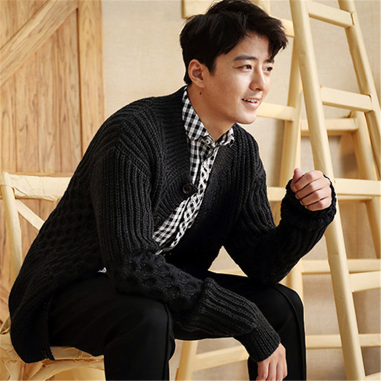 100% hand made pure wool knit men fashion half high collar solid single breasted cardigan sweater black 5color customized