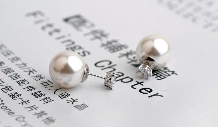 2017 new arrival fashion pearl ladies stud earrings double use 925 sterling silver female stud earrings women jewelry gift in Stud Earrings from Jewelry Accessories
