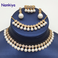 Nankiya Luxury Cubic Zirconia Fashion Bridal Jewelry 4pcs Sets Pearl Embellishment Noble Lady Adjustable Wedding Jewelry NC503