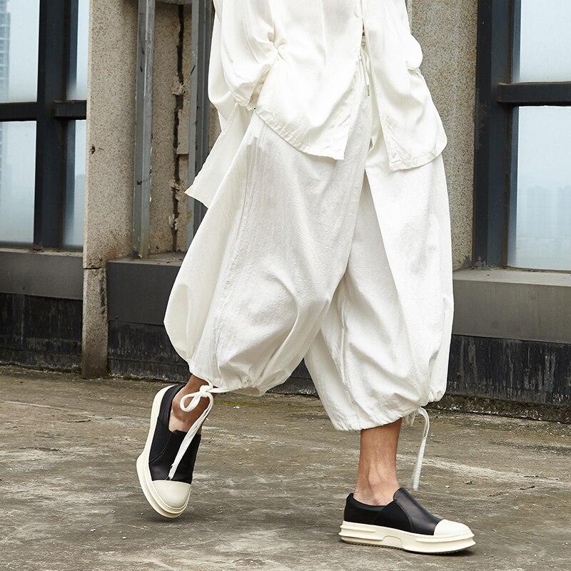 Men Cotton Linen Wide Leg Skirts Pants