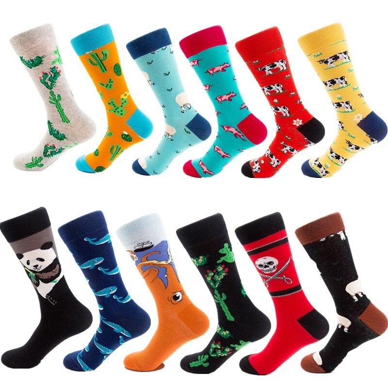 Men Crew Socks Combed Cotton Funny Happy Socks  Animal Cactus Art Cartoon Pattern Socks Male Winter Warm High Long Unisex Socks