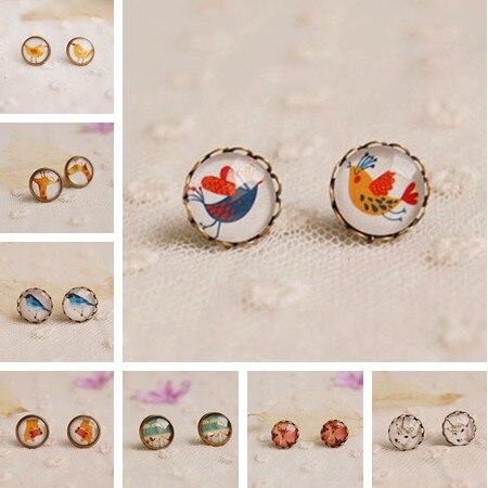 12pairs/lot Cute Animal Stud Earrings Mix Lot Wholesale Glass Cabochon Post Earrings Birds Deer Owl Bear Studs for Girl rd0001
