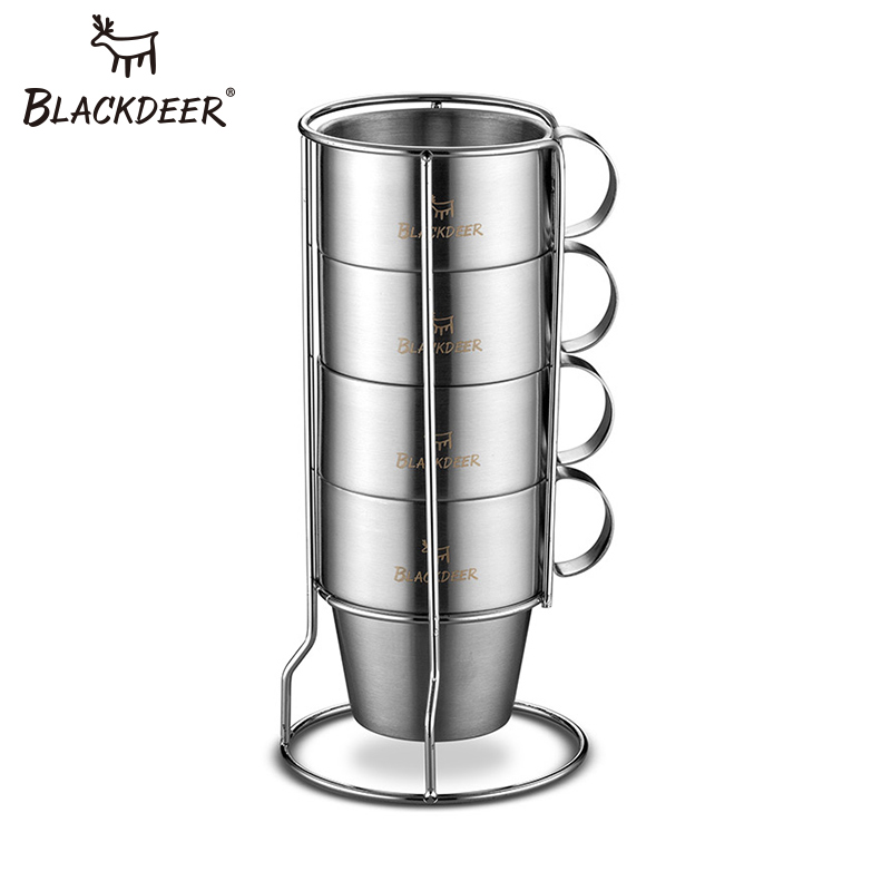 BLACKDEER Camping Tools Portable Stainless Steel Coffee Water Cups Double layer Insulated Cup For Home Outdoor Picnic Camping-in Outdoor Tablewares from Sports & Entertainment    1
