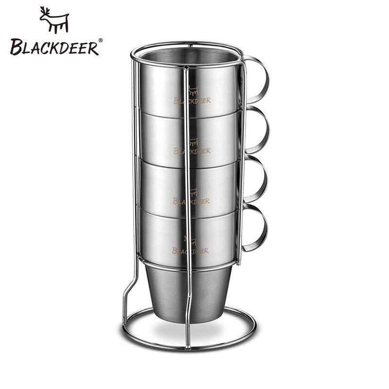 BLACKDEER Ferramentas de Campismo Portátil Xícara de Café Xícaras de Água Dupla-camada de Isolamento de Aço Inoxidável Para Casa Ao Ar Livre Piquenique Camping