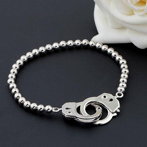 Women Men Silver Handcuff...