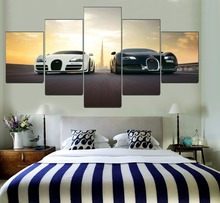 Wall Art HD Printed Type Modular Picture 5 Pieces Black And White Bugatti Veyron Supercar Canvas Painting Home Decor Living Room