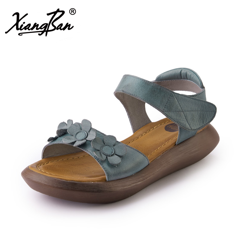 2018 summer women sandals thick soles leather wedge heel open toe platform ladies sandals casual shoes Xiangban vtota summer pep toe sandals women increased thick heel shoes woman wedge summer shoes back strap platform shoes for ladies