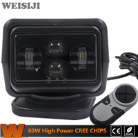 WEISIJI 1Pcs 60W Wireless Led Marine Search Light With Cree Chips LED Search Light Remote Control
