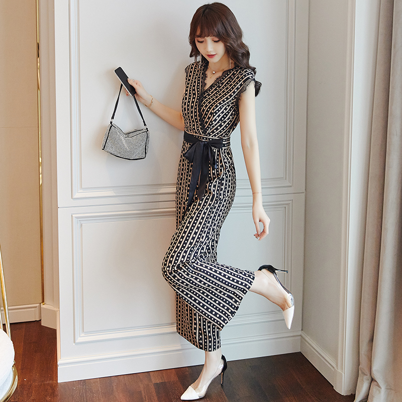 Chiffon Sleeveless Rompers Womens   Jumpsuit   Striped Overalls Female Summer Office Lady One Piece Pants Combinaison Femme