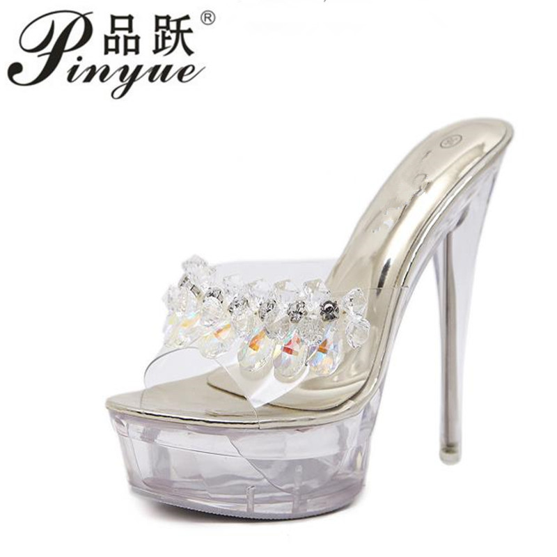2019 Women Glass Crystal Fine Heel 15cm Female Summer Waterproof 15cm Prevent Thick Bottom Sexy Cool Shoes