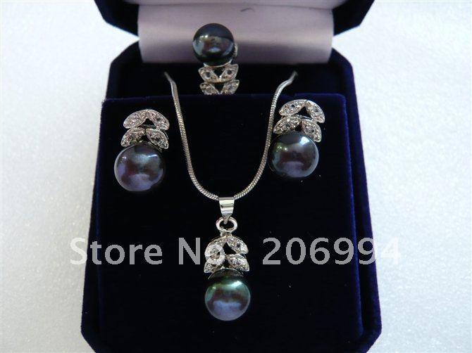 factory price fashion jewelry set design elegant black freshwater pearl Earring rings Pendant Necklace set #016