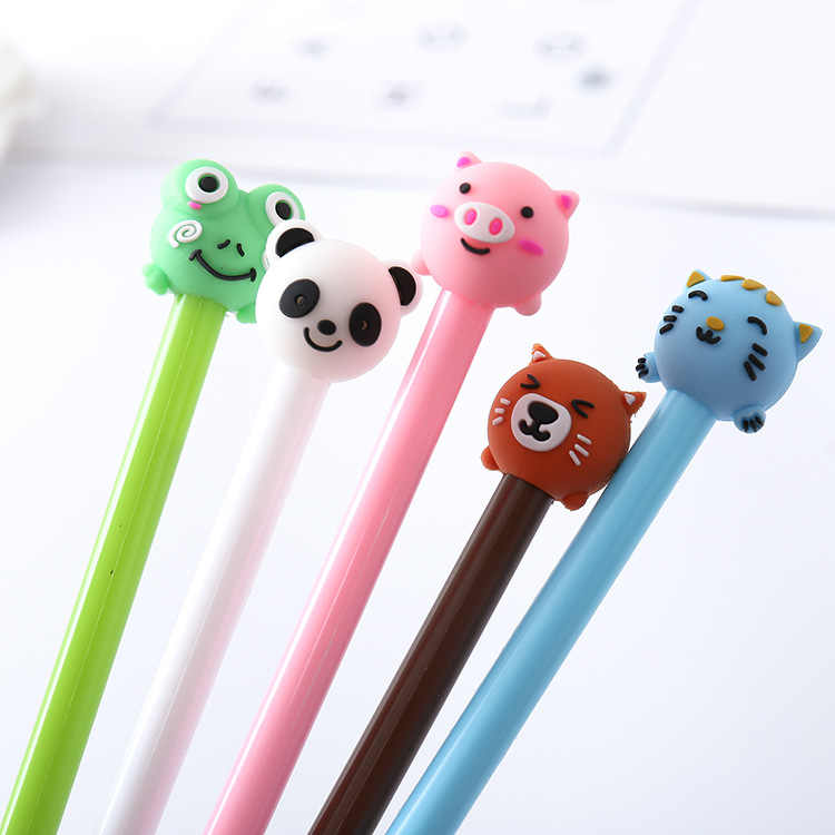 1 pcs cartoon animal styling neutral pen creative office black signature pen  students write water-based pen