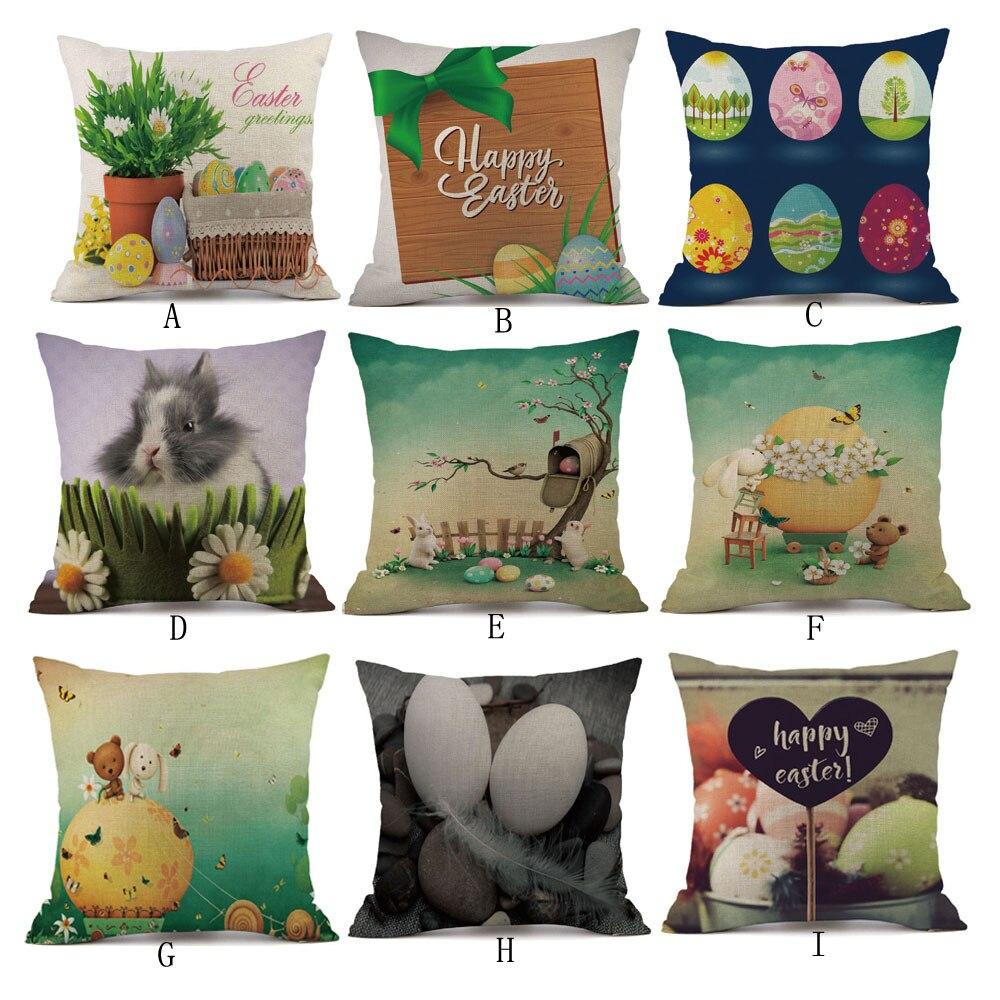 Easter Bunny Ribbit Easter Egg Cushion Cover Cotton Linen 45x45cm Pillow Cover Easter Sofa Bed Home Decor Housse De Coussin