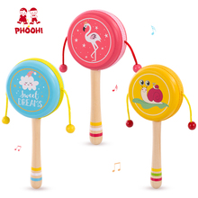 Wooden Hand Baby Rattle Toy Kids Early Educational Hearing Play Drum Animal For Infant PHOOHI
