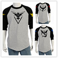 New Autunm Male T-shirt US Size Fashion Priting Men's Tshirt Pokemon Go Patchwork T Shirt Casual Slim Tshirt